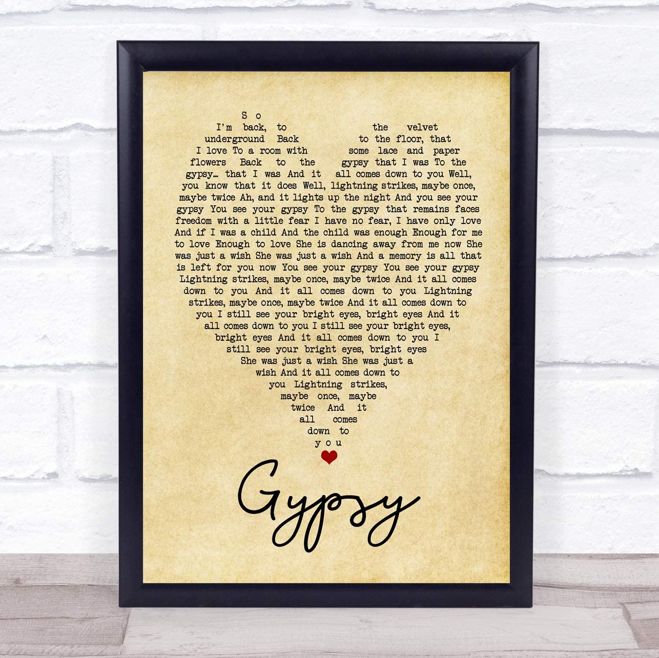 Gypsy Vintage Heart Quote Song Lyric Print