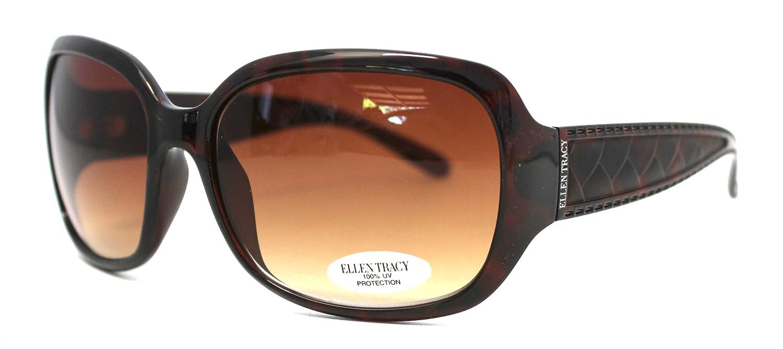 Ellen Tracy 特大 レディース 長方形 デミ プラスチック ブラウン レンズ ET504 2   B007V60GGY