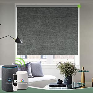 Yoolax Motorized Roller Shade Heat Insulation Hardwired Smart Blinds Voice Control Privacy Smart Roller Blinds with Valance (Dark Grey)