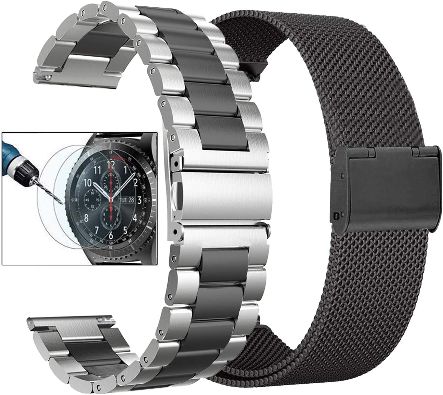 Valkit Compatible Gear S3 Frontier/Galaxy Watch 3 45mm Bands, Solid Stainless Steel Metal Watch Band Business Bracelet Strap+Screen Protector for Gear S3 Frontier/Galaxy Watch 46mm, Sliver + Black