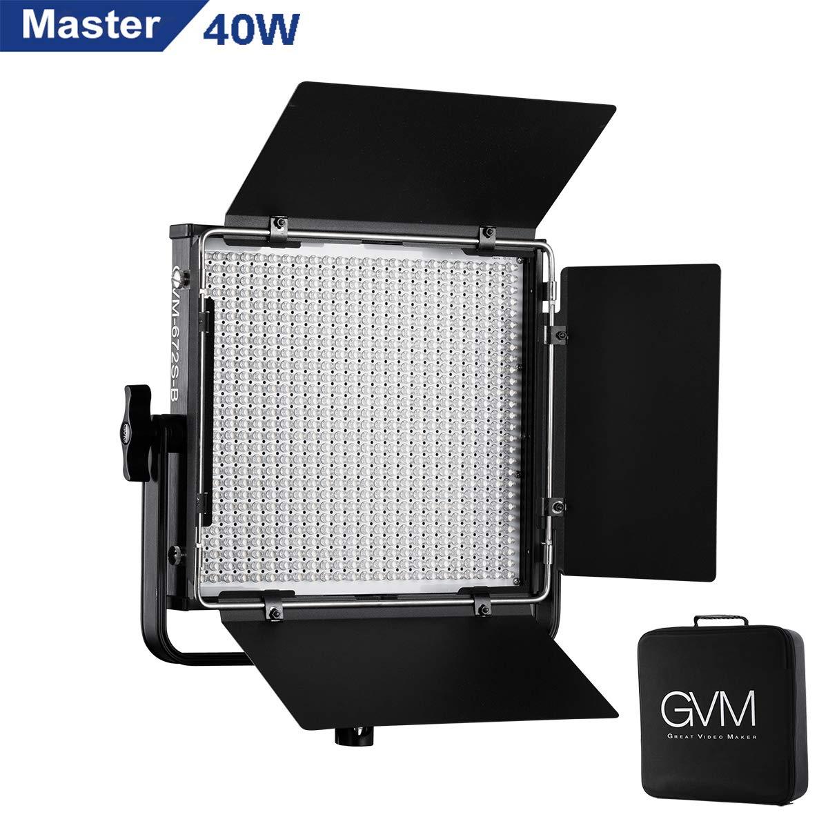 GVM 672S Master Series LED Video Lighting CRI97+ Bi-Color 3200K-5600K Dimmable LED Video Light Panel for Studio Portrait Photography Outdoor Interview Lighting by GVM Great Video Maker