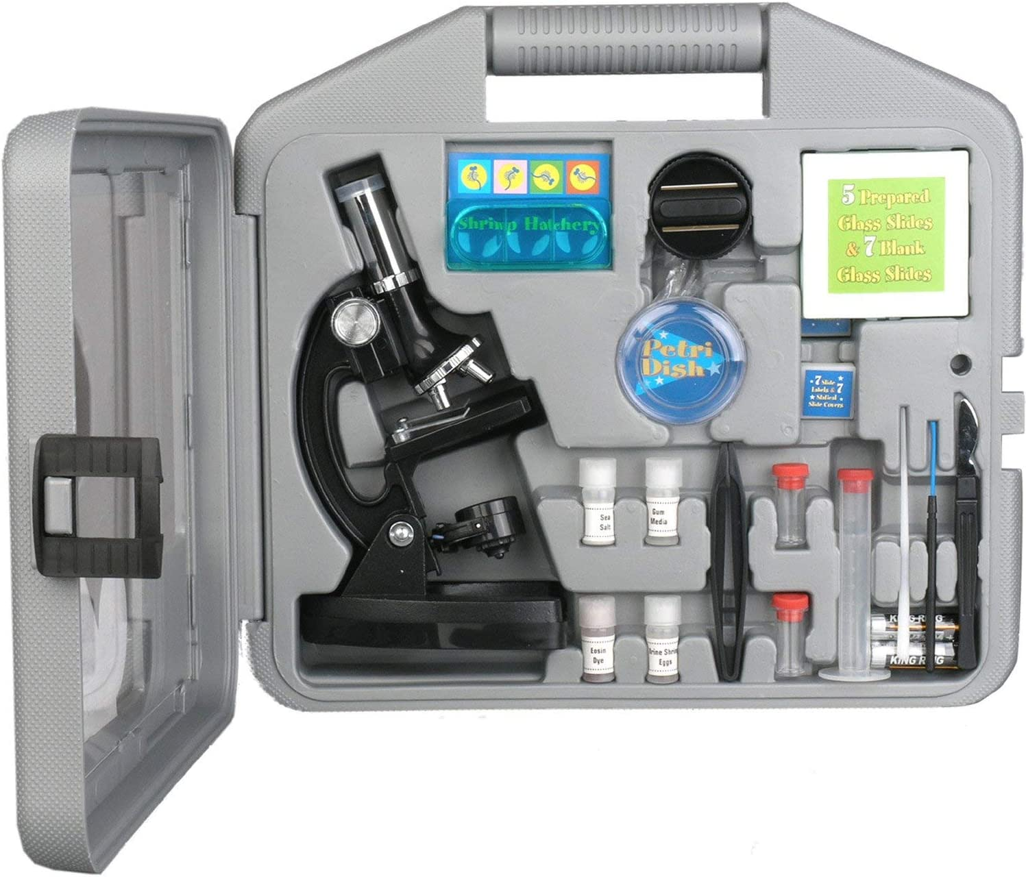 Kit de microscopio M30-ABS-KT2 para niños de AmScope-KIDS, de 120X-240X-300X-480X-600X-1200X, brazo metálico, biología