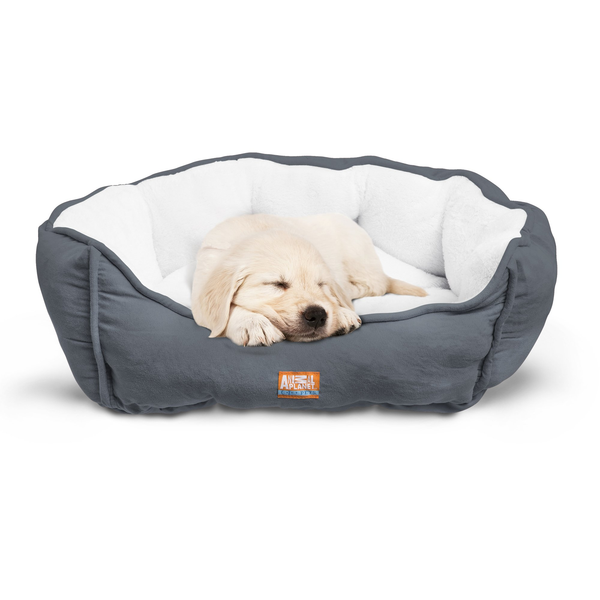 """Animal Planet Round Plush Micro Suede & Sherpa Bolster Pet Bed for Dogs & Cats, Puppies, and Small & Toy Breeds; Cuddly and Warm for Burrowing and Snuggling, Easy-to-Clean 24""""x 17""""x 9"""" Gray"""