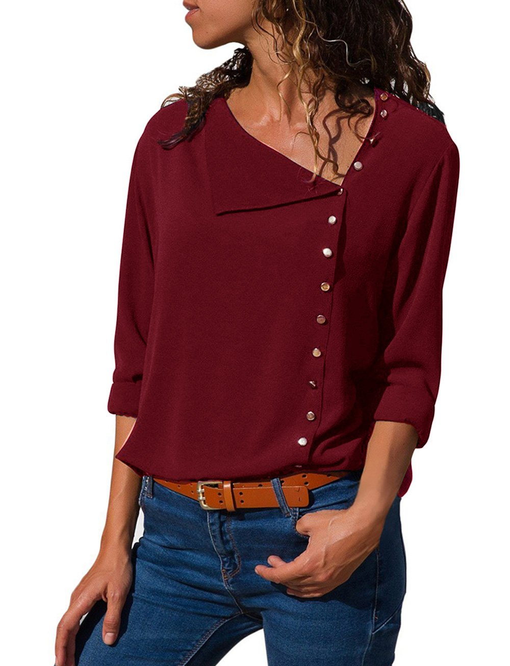 Angelsweet Women's Long Sleeve Casual V Neck Shirts Button Up Solid Chiffon Blouse Tops Tunic Wine Red M
