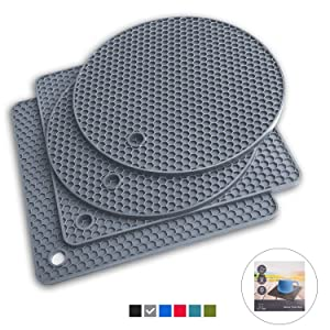 Q's INN Gray Silicone Trivet Mats | Hot Pot Holders | Drying Mat. Our 7 in 1 Multi-Purpose Kitchen Tool is Heat Resistant to 440°F, Non-slip,durable, flexible easy to wash and dry and Contains 4 pcs.