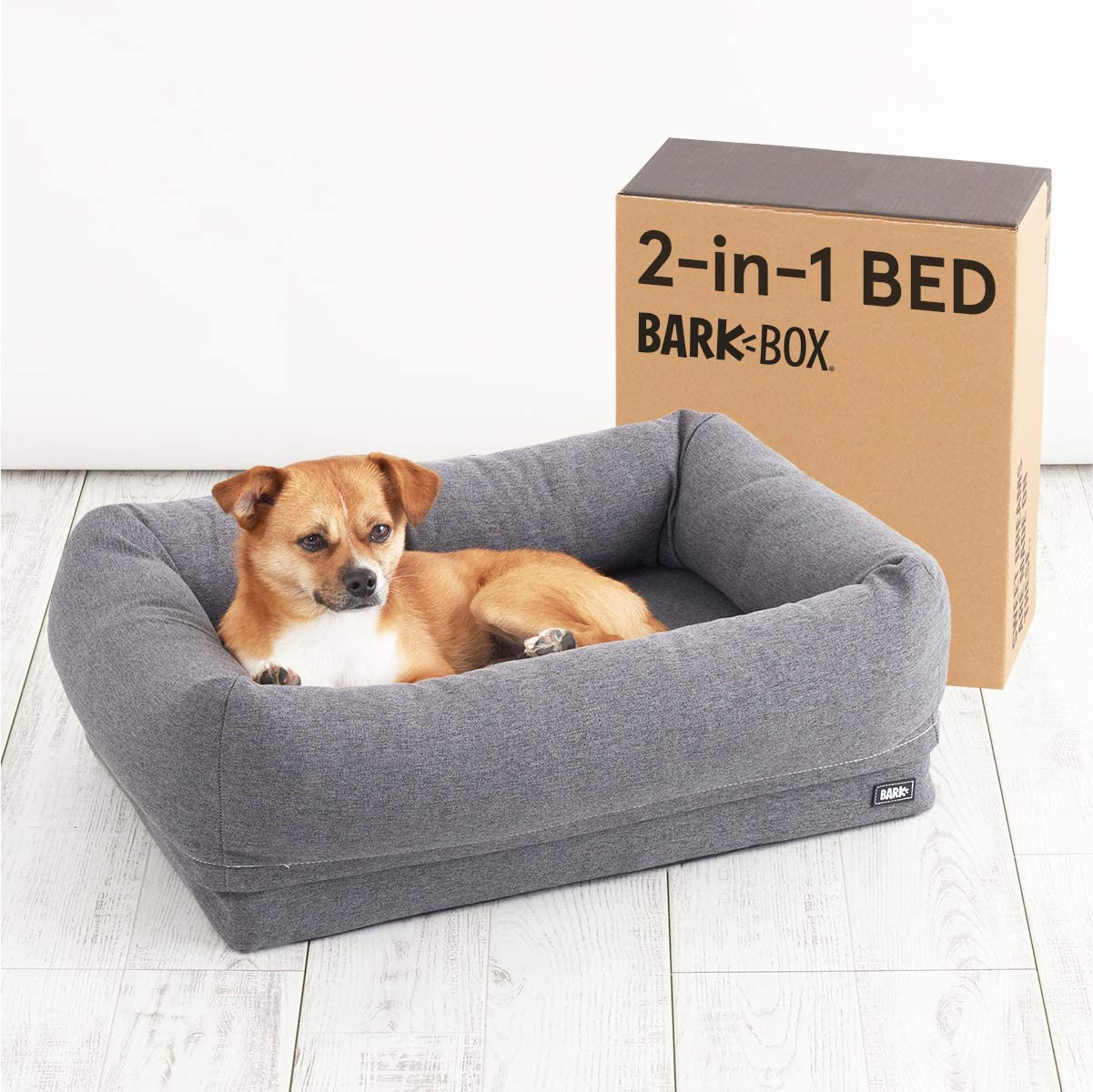 Barkbox 2-in-1 Memory Foam Dog Cuddler Bed | Plush Orthopedic Joint Relief Crate Lounger or Donut Pillow Bed, Machine Washable + Removable Cover | Waterproof Lining | Includes Toy