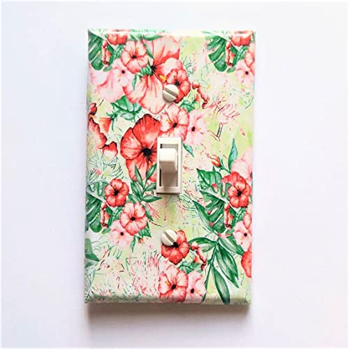 Amazoncom Hibiscus And Palm Leaves Light Switch Cover Greenery