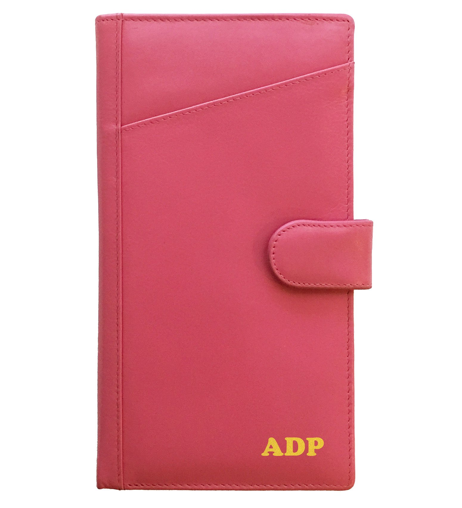 Personalized Monogrammed Hot Pink Leather RFID Travel Wallet