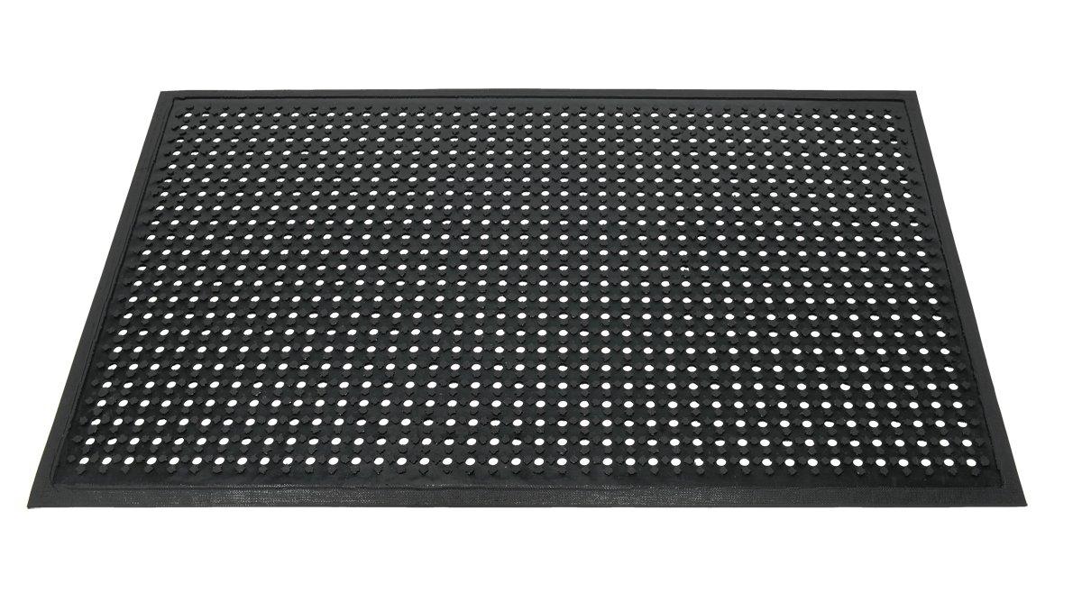 Americo Manufacturing 69916046 AquaFlo Light Weight Drainage Mat with Drainage Holes and Beveled Edges, 4' x 6', Black
