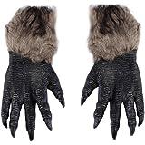 Ecyc une paire loup-garou Loup pattes griffes Gants de cosplay Costume effrayant pour fête en extérieur Play