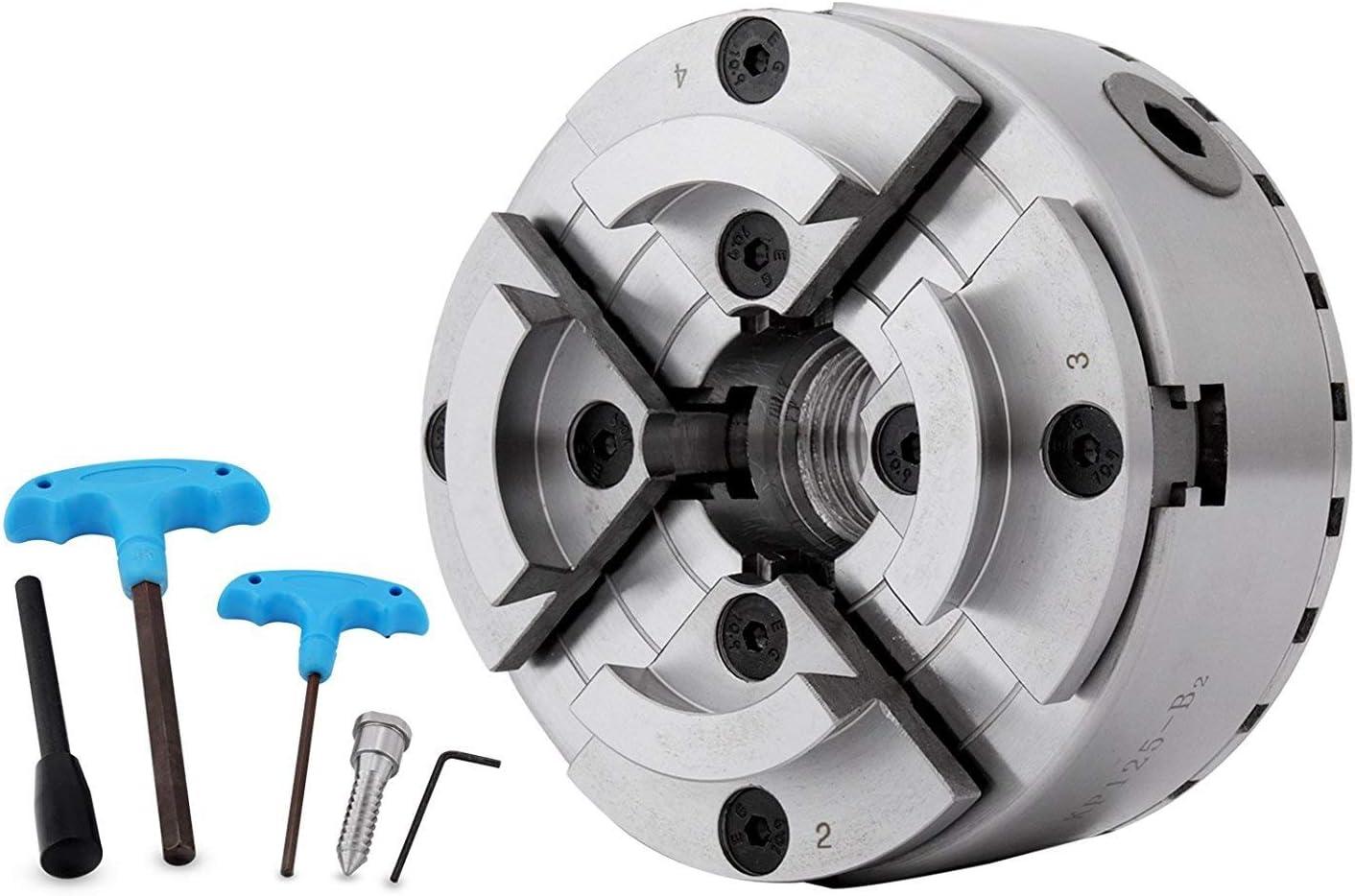 Mophorn 2500 RPM Plato de 4 Garras para Tornos de Metal 125 mm Mandril de Mordaza para Torno con Rosca M33 Torno Chuck para Carpintería