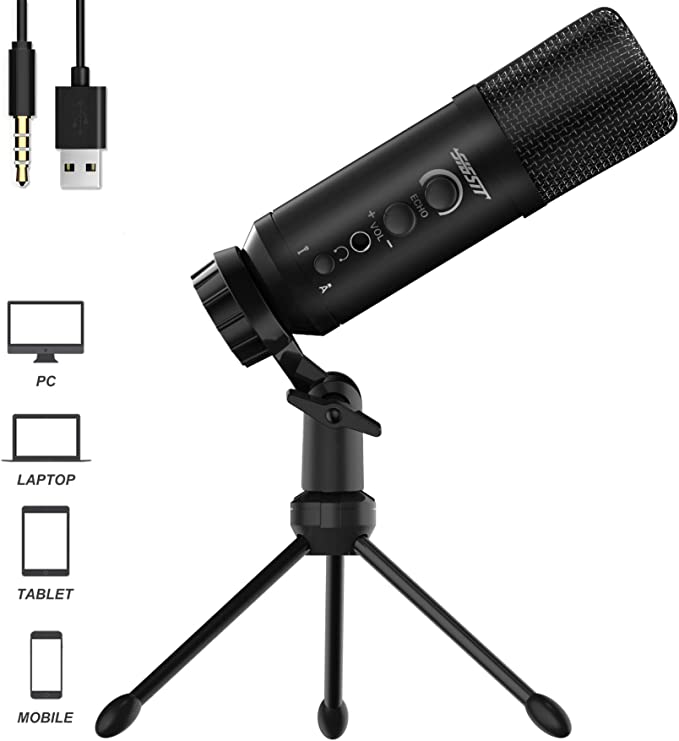 SIGSIT Cardioid Condenser Microphone Plug & Play with 5-pin XLR to 3.5mm and Desktop Tripod Stand for PC,Laptop,Cell Phone, YouTube, Studio Recording, Skype, Vlog and so on
