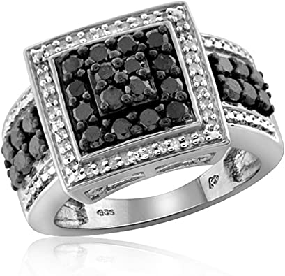 Jewelexcess 1.00 Carat T.W Black Diamonds Sterling Silver Square Shape Mens Ring