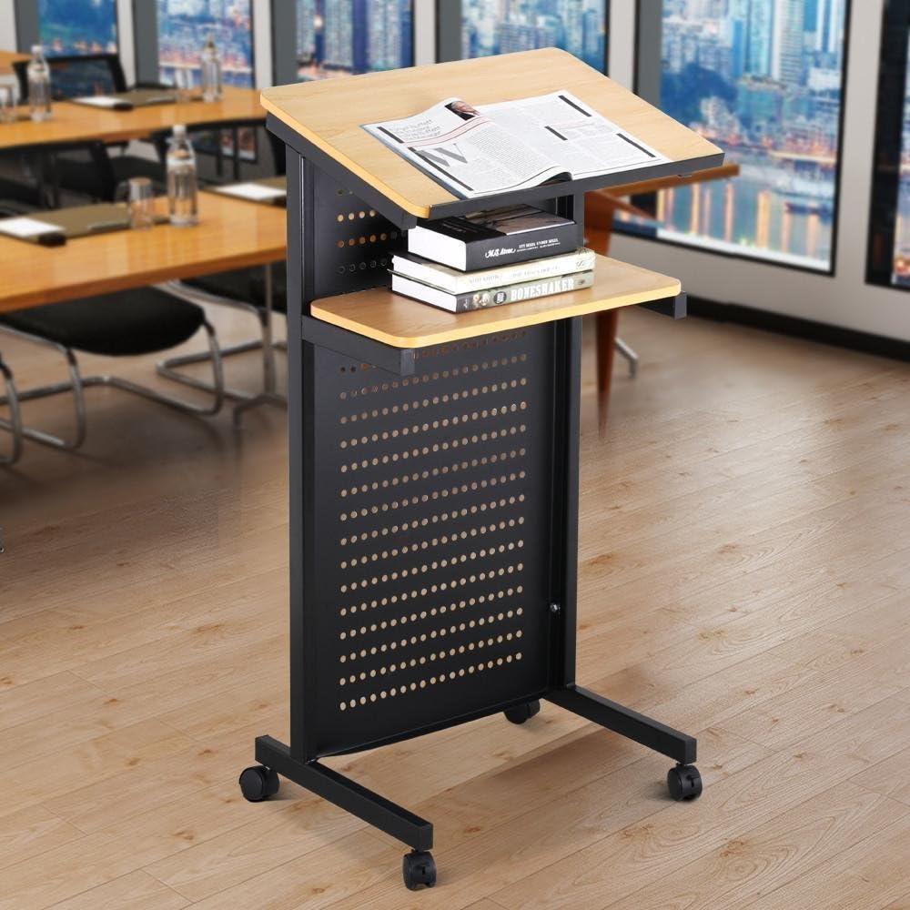 Topeakmart Wheeled Lectern Mobile Presentation Stand Podium w 2 Brake Casters, Storage Shelf, Edge Stopper
