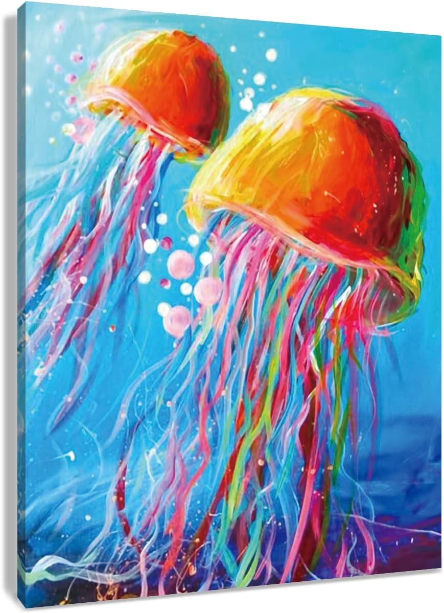 Jellyfish Wall Art Bedroom Wall Decor Jellyfish Print Set of 3 Ocean Animal Printing Art Ocean Lift Canvas Wall Art