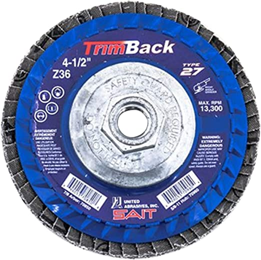 United Abrasives SAIT 70919 Trim Back Flap Disc with 5-Inch-Inch Diameter and 5//8-11-Inch Arbor 10-Piece
