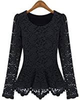 Aokin Women Scoop Neck Long Sleeve Lace Tunics Blouse Top