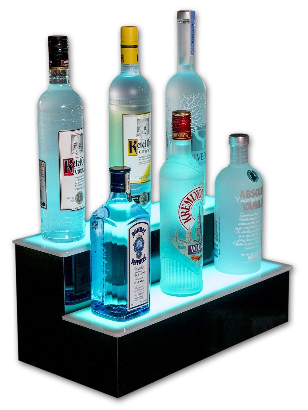Customized Designs 18'' 2 Step Lighted Liquor Display Shelf, Remote Control Lighting,
