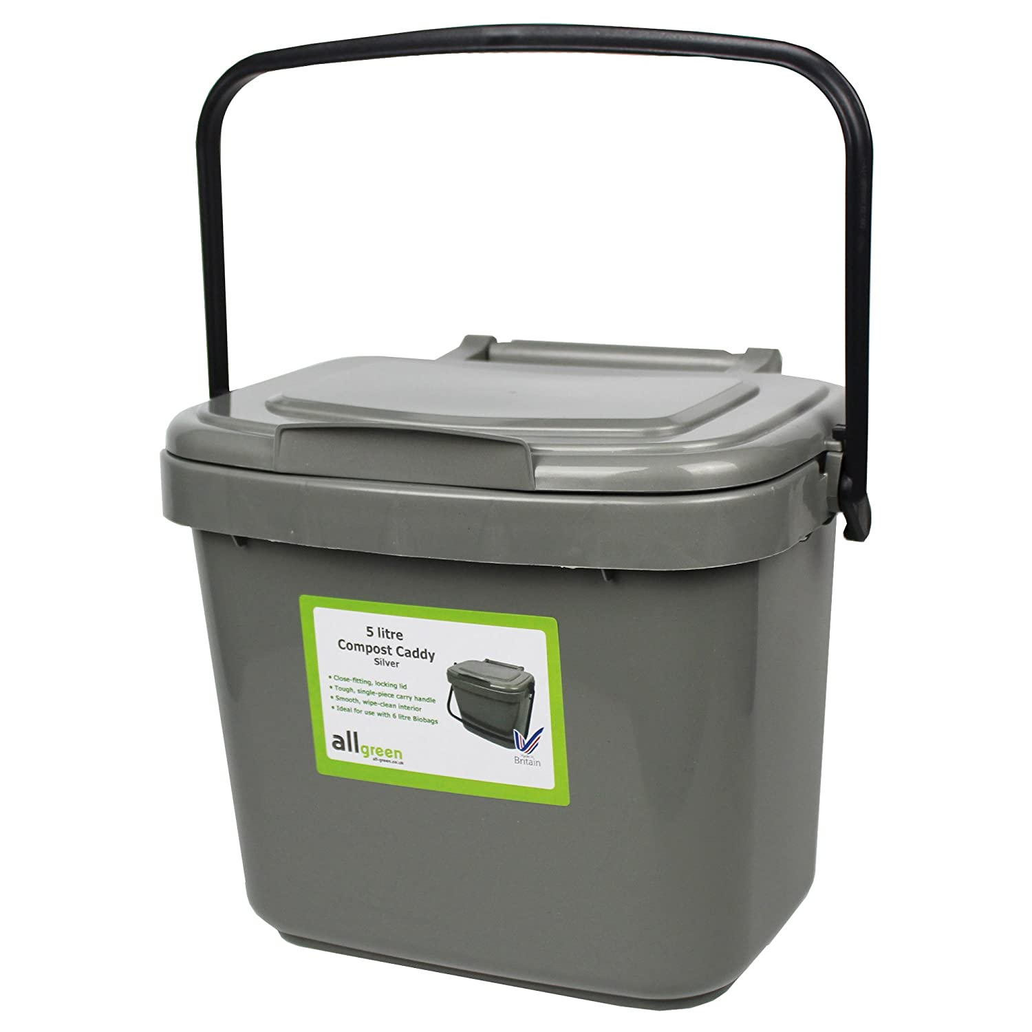 All-Green 5 Litre Plastic Kitchen Compost Caddy, Silver/ Grey ...