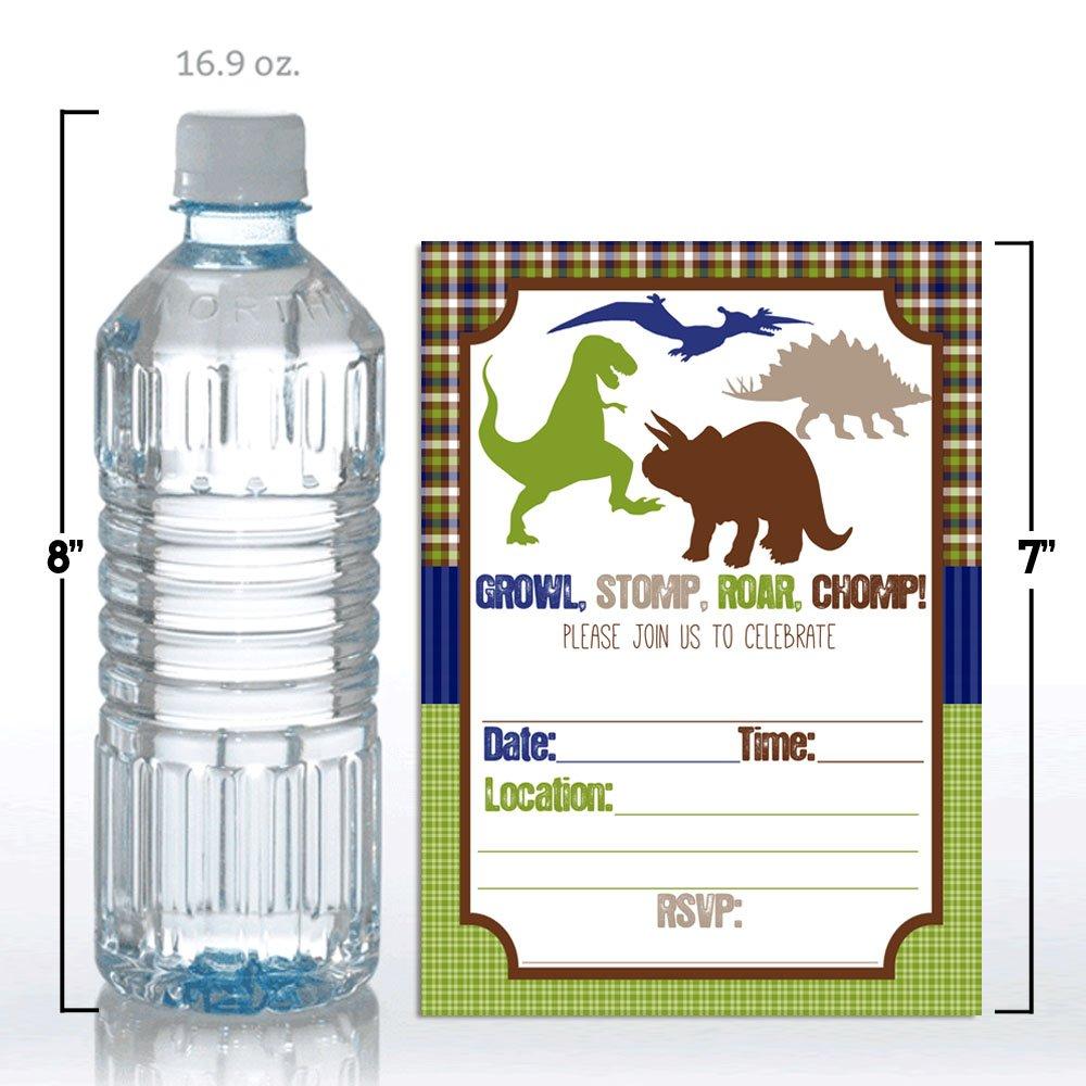 Amazon.com: Growl Stomp Roar Dinosaur Birthday Party Invitations for ...
