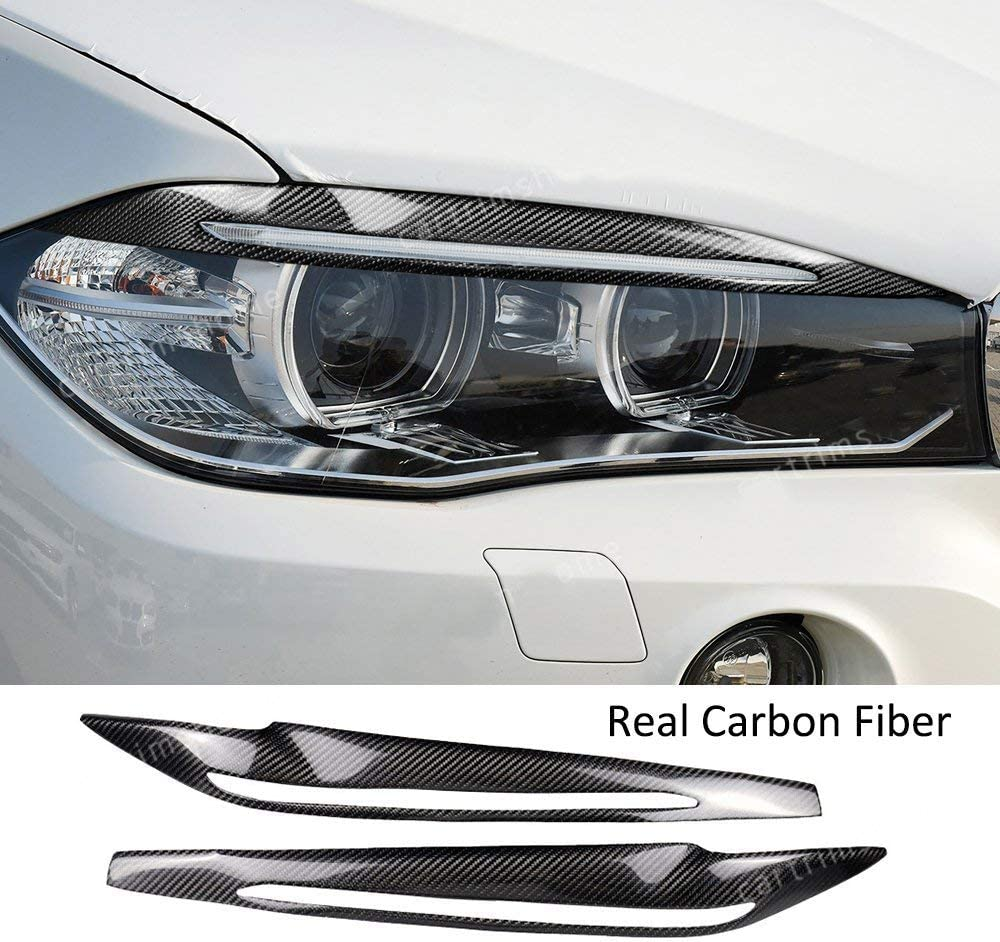 1Pair Carbon Fiber Headlight Headlamp Eyebrow Eyelids Cover Front Trim Decoration Styling Lid for X5 F15 2014 2015 2016 2017 2018