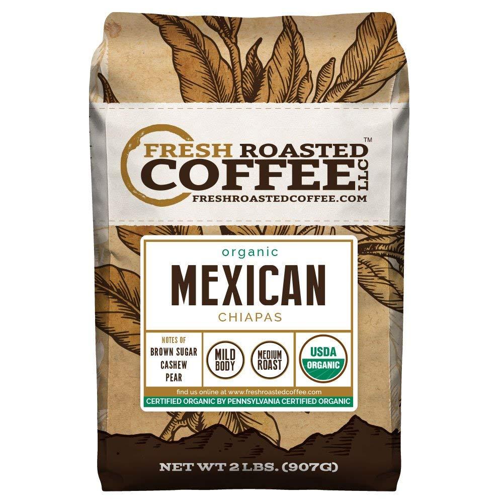 Mexican Chiapas Organic Coffee, Whole Bean, Fresh Roasted Coffee LLC (2 lb.) by FRESH ROASTED COFFEE LLC FRESHROASTEDCOFFEE.COM