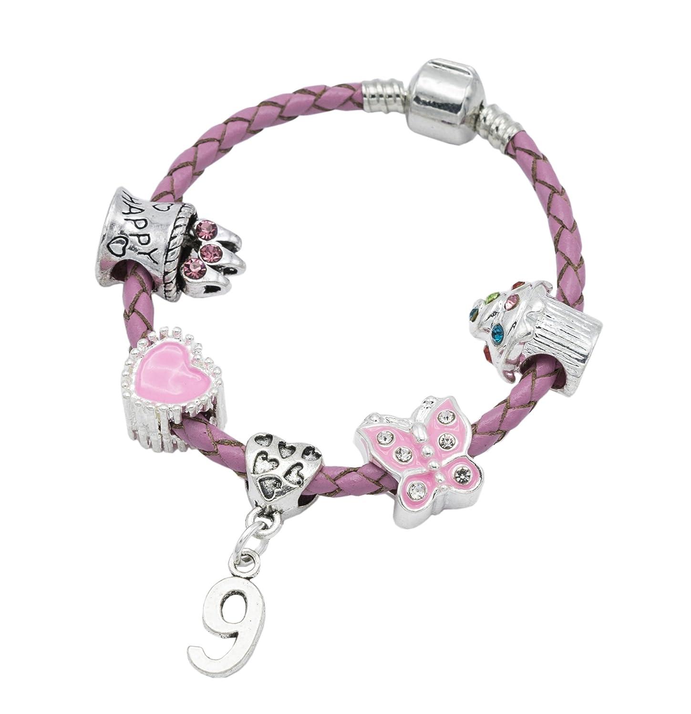 Jewellery Hut - Bracelet Happy 9th Birthday en cuir rose avec adorables breloques - Cadeau d'anniversaire pour filles et enfant - Avec pochette - BRKID9