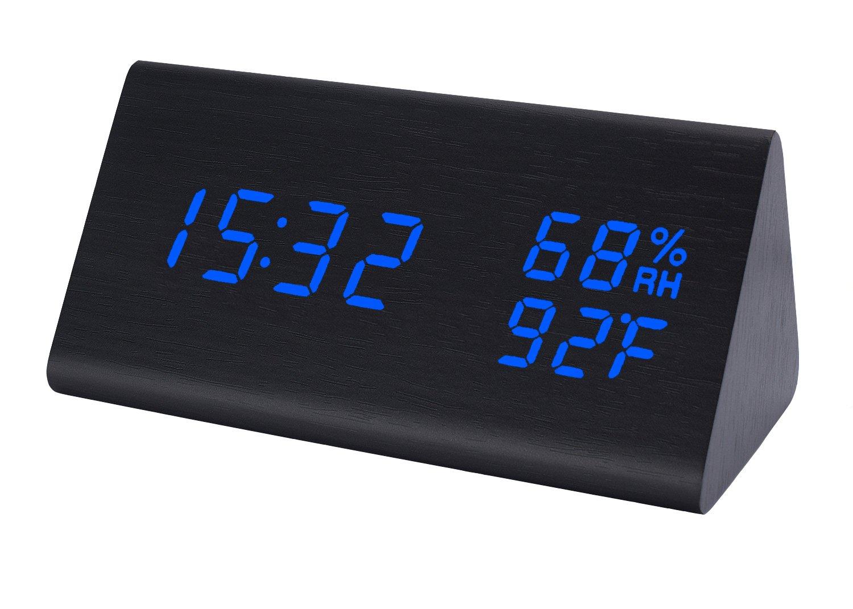 Raercodia Night Clock Wood Desk Clock Night Light Alarm Clock Modern Digital Electronic Clock Show Time Date Calendar Temperature Humidity LED Clock Home Office Kids Bedside Bedroom(Black,Blue)