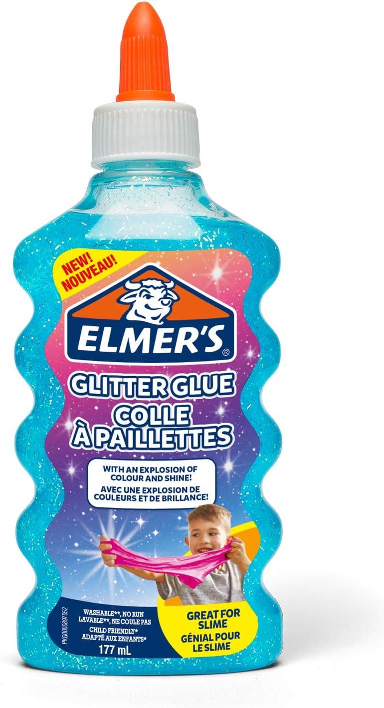 Elmer's pegamento con purpurina azul, lavable y apto para niños de 177ml; adecuado para hacer slime