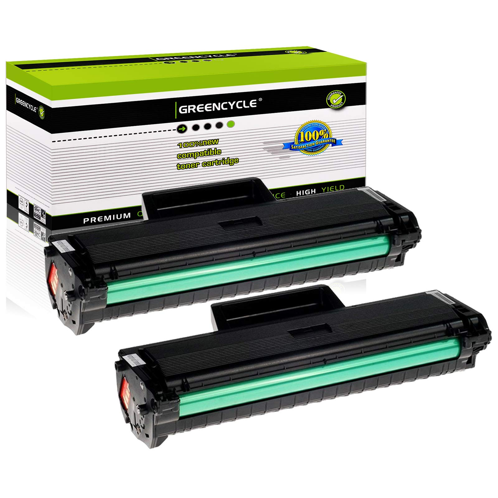 GREENCYCLE Compatible Toner Cartridges Replacement for Samsung MLT-D104S MLT-D104L High Yield for Ml1665 Ml1660 Ml1865w Printer (Black,2 Pack)