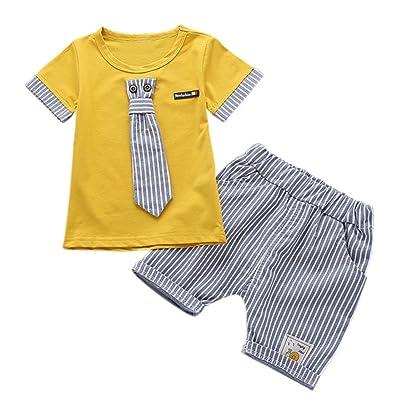 Loveble Kids Boys Short Sleeve Gentleman Suit Summer Stripe Shorts Pants Clothing Set