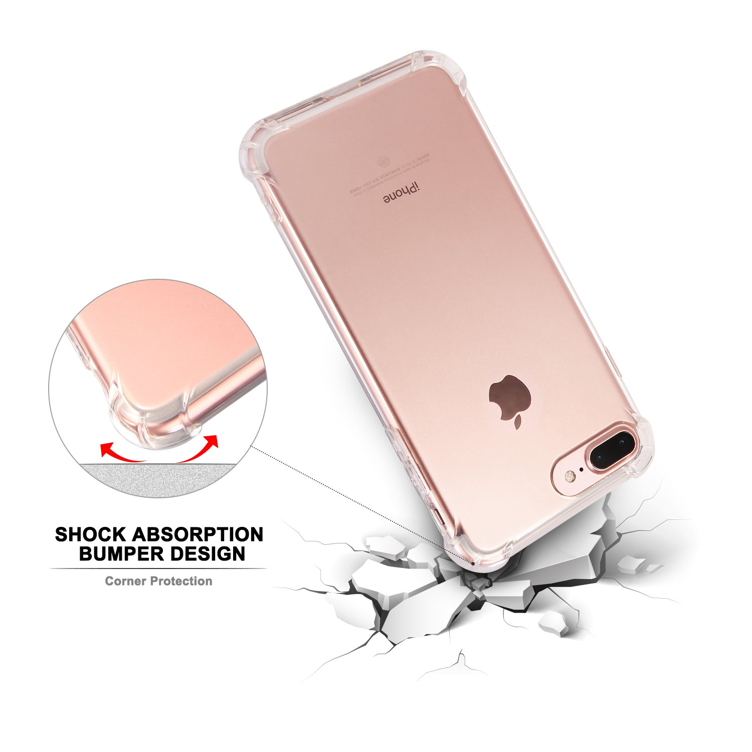 iPhone 7 Plus Case, iPhone 8 Plus Case, CLONG Crystal Clear Shockproof Case Bumper Transparent Silicon TPU Cover for Apple iPhone 7 Plus(2016) 5.5\