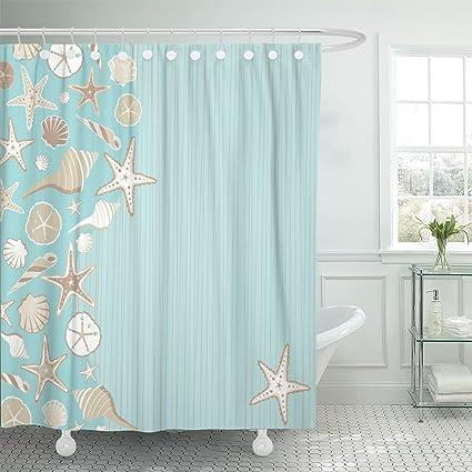 Amazon TOMPOP Shower Curtain Seashell Beach Party Variety Of