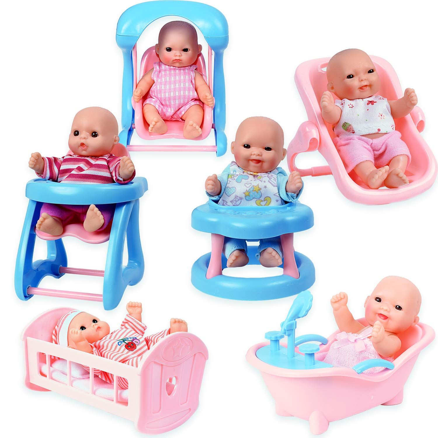 Infant seat WolVol Set of 6 Mini Dolls for Girls with Cradle Swing Walker Bathtub High Chair