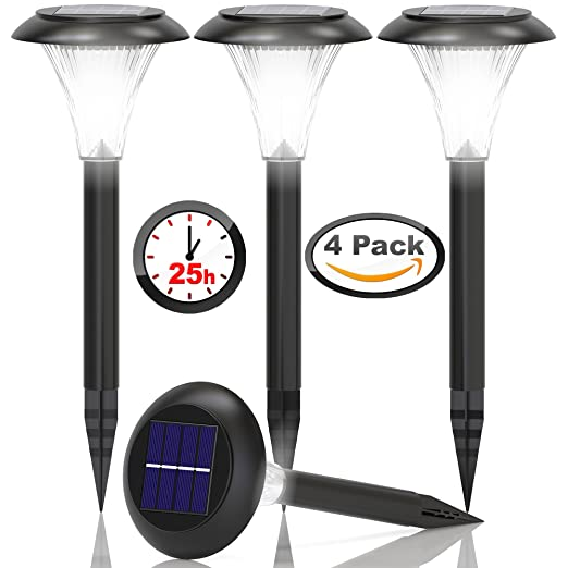 Solar Lights Outdoor - Solar Pathway Lights - for Garden Path Walkway Light - Yard Lawn Driveway Sidewalk Outside Light - Landscape Lighting - Bright White LED - Up To 25HR - Waterproof - 4 Pack Set