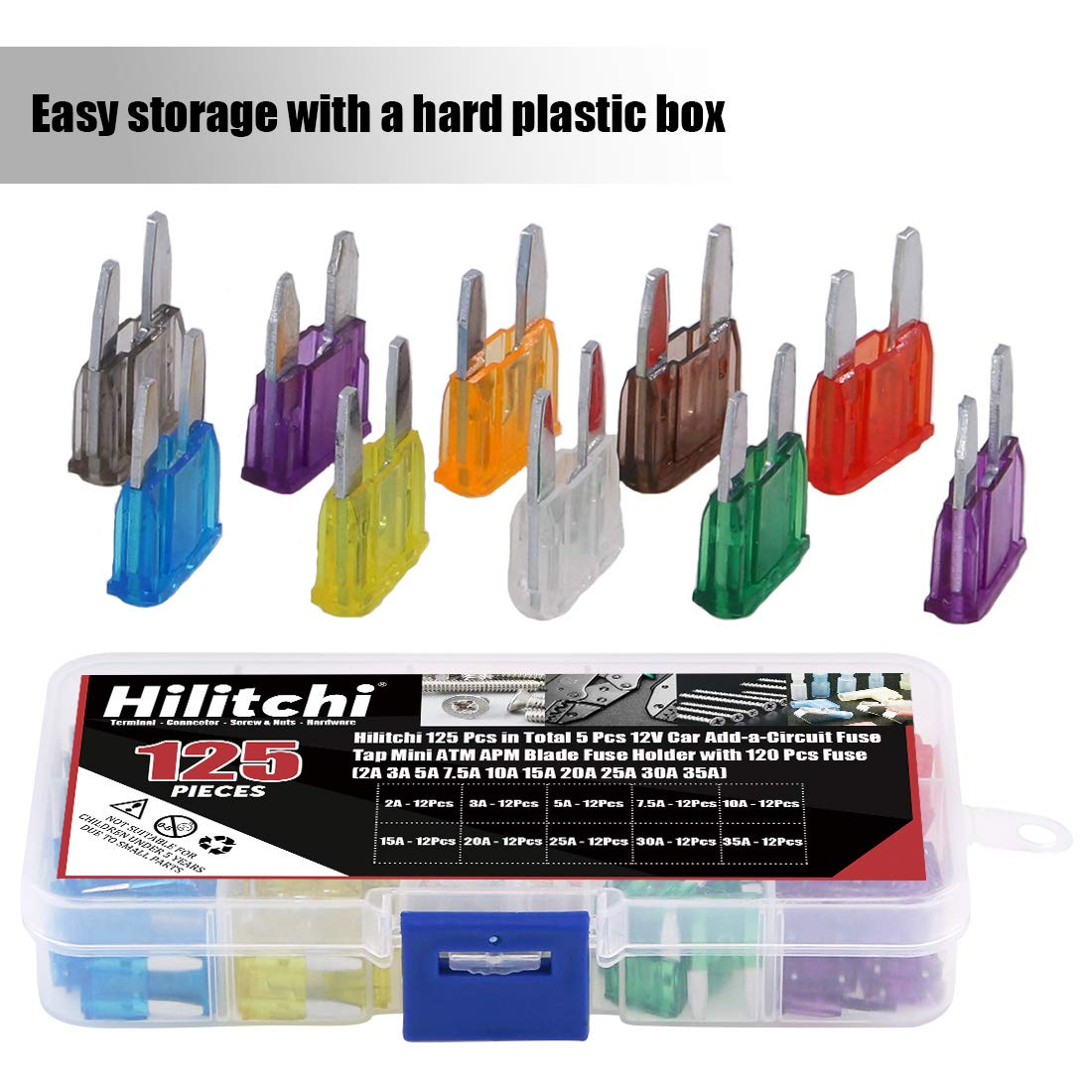 Hilitchi 125 Pcs in Total 5 Pcs 12V Car Add-a-Circuit Fuse Smal Tap ATM APM Blade Fuse Holder with 120 Pcs Fuse 2A 3A 5A 7.5A 10A 15A 20A 25A 30A 35A