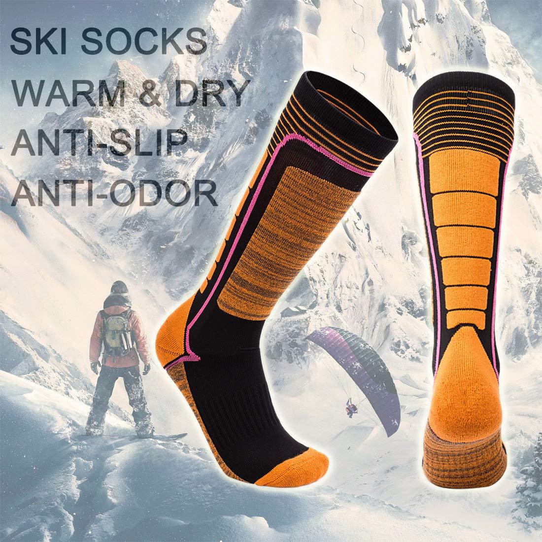 LORYLOLY 2 Pares Calcetines de Esquí para Hombre Mujer Niño Niña, Unisex Largos Calcetines Térmicos para Adultos y Niños, Invierno Nieve Calcetines Gruesos ...