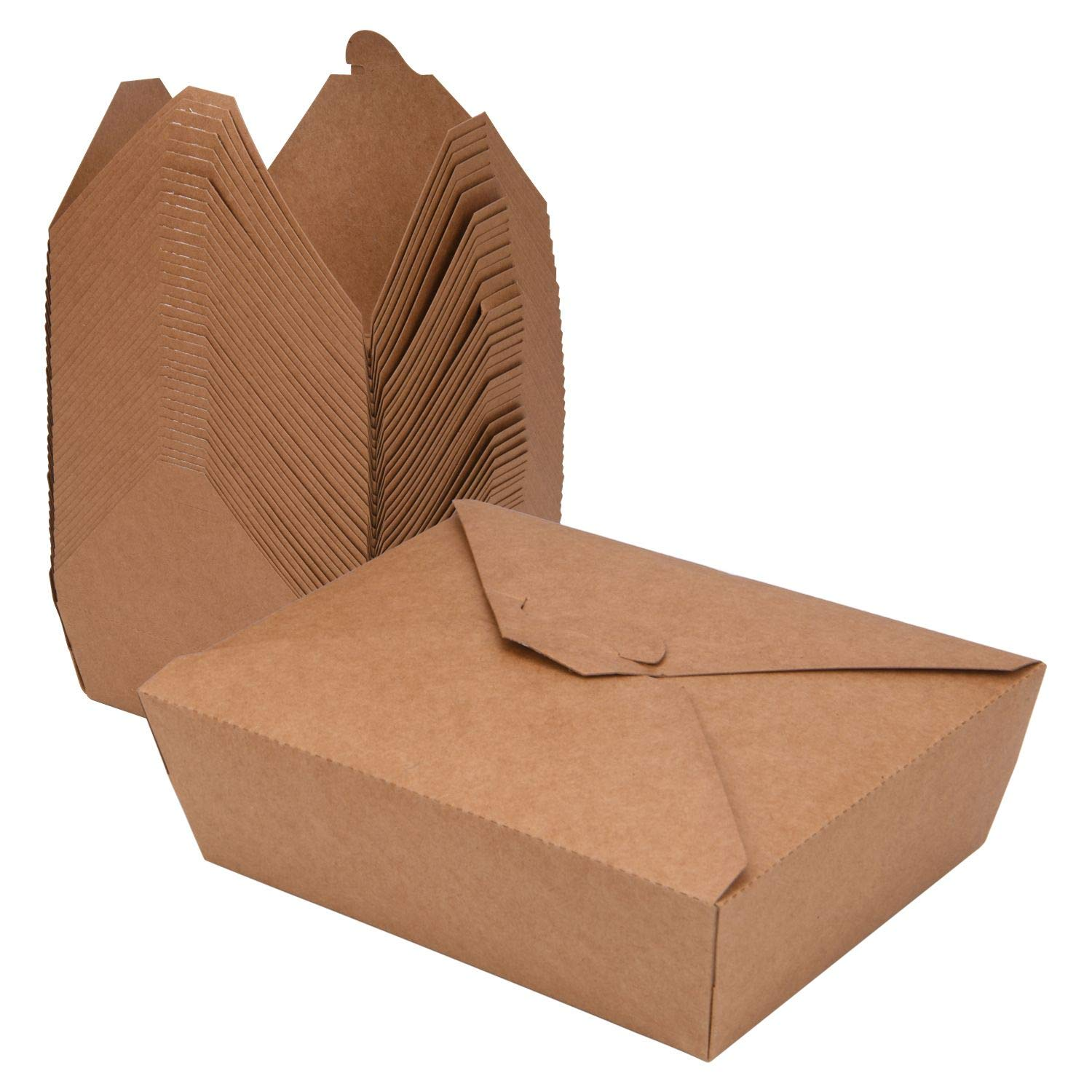 38 Oz Take Out Food Containers (50 Pack) Disposable Kraft Paper Food Container Takeout Box Microwaveble