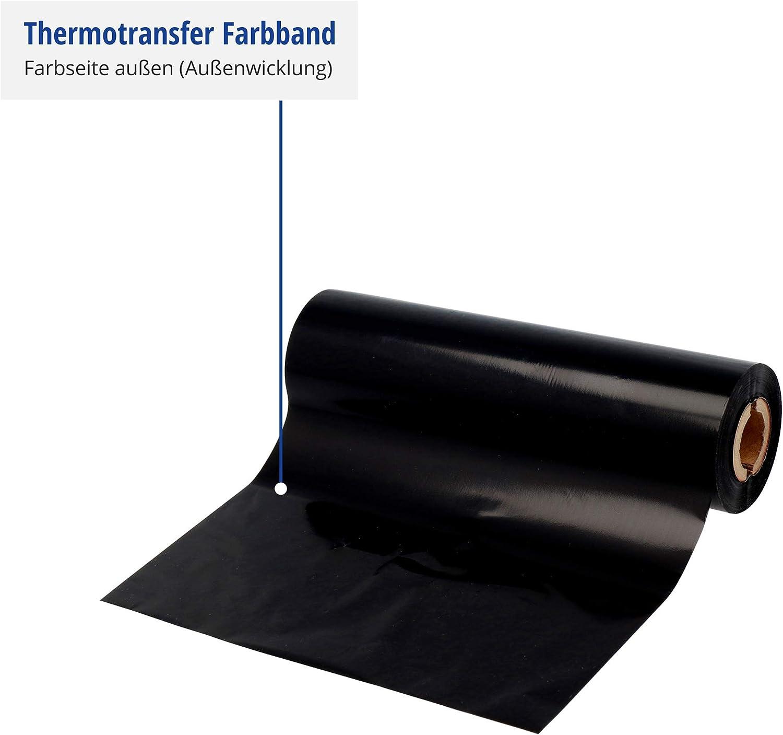 f/ür Desktop-Drucker 4 Zoll Druckbreite Labelident Thermotransfer Farbband Harz schwarz 85 mm x 74 m zur Bedruckung von Folienetiketten