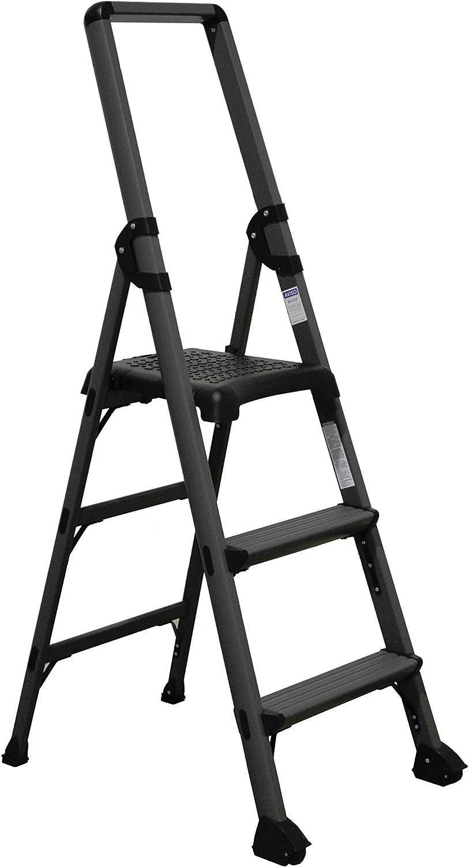 Escalera para tienda con plataforma y guarda cuerpos 3 peldaños: Amazon.es: Bricolaje y herramientas