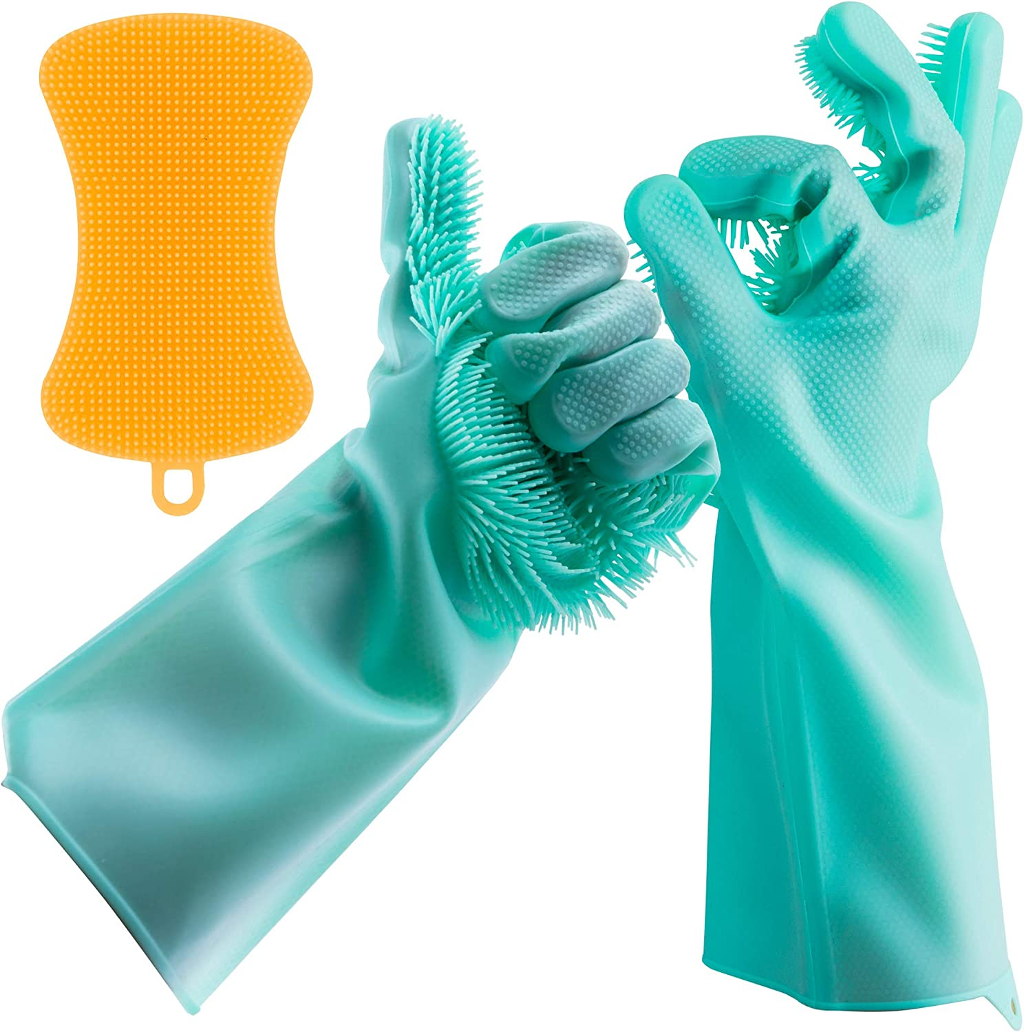 Dishwashing Gloves Silicone Scrubber Reusable - Premium Set 1 Pair Magic Rubber Green Scrubbing Gloves and 1 Yellow Silicone Sponge Heat Resistant for Cleaning Dishes Home Kitchen Bathroom Pet Care