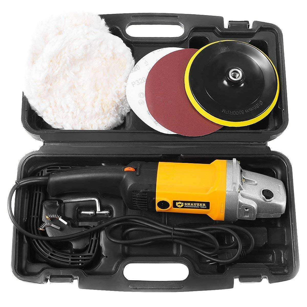 Goplus Electric Car Polisher Variable 6-Speed 7'' Buffer Sander w/Bonnet Pad