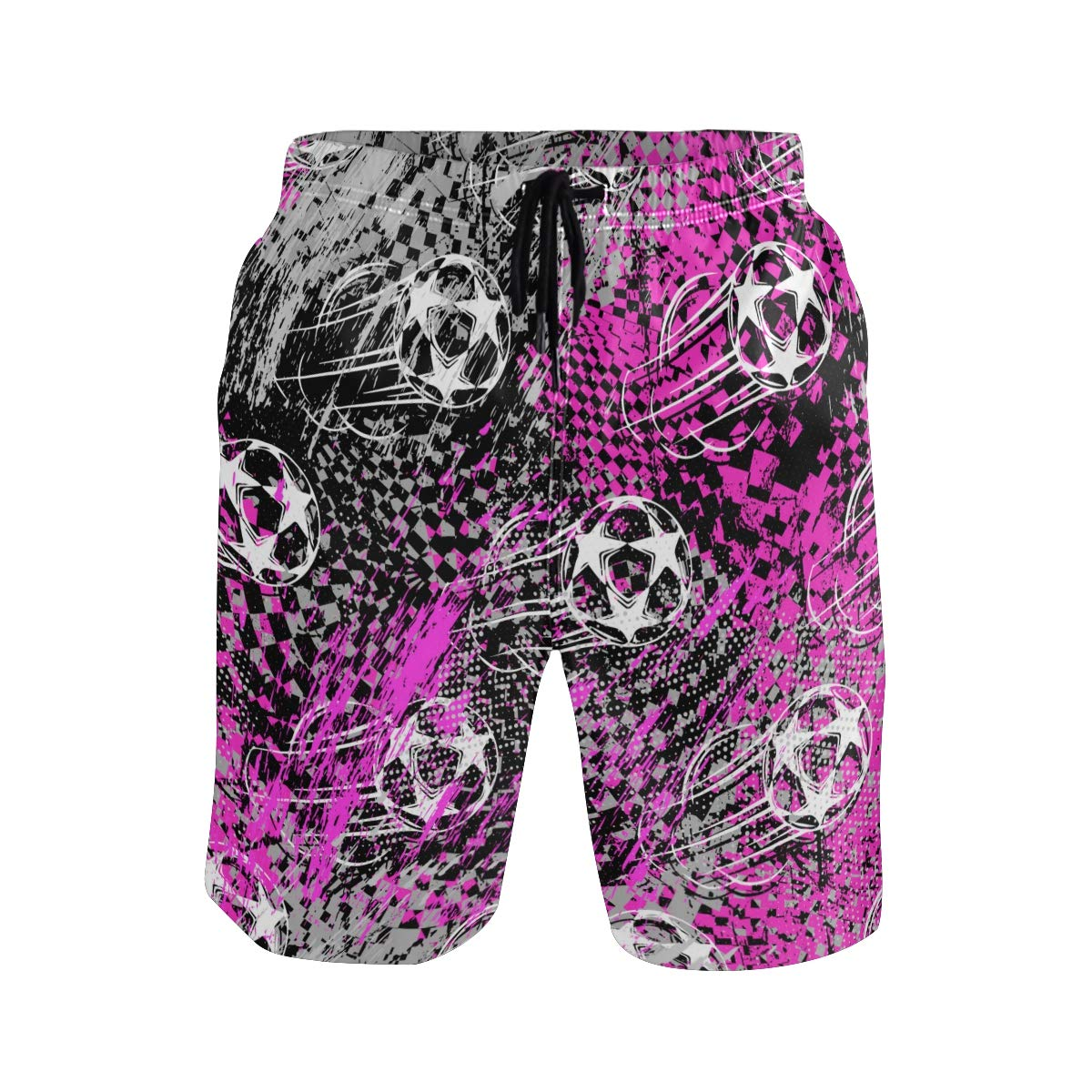 COVASA Mens Summer ShortsAbstract Pattern from Hearts and Circles