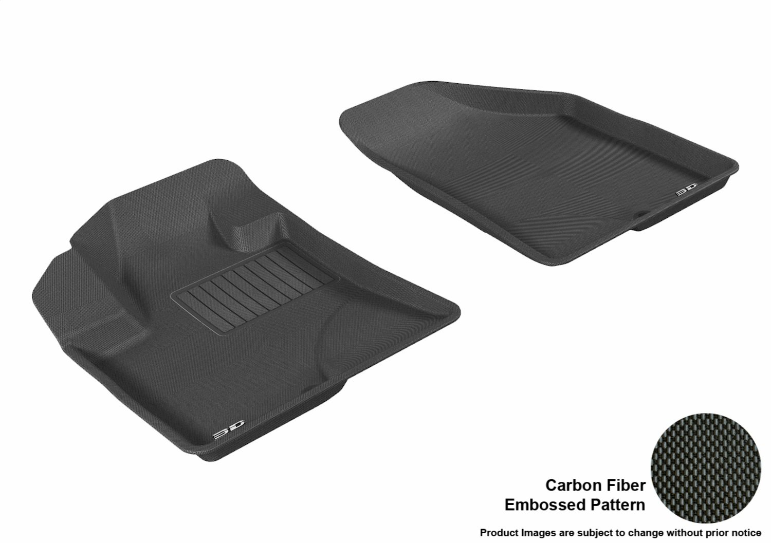 3D MAXpider Second Row Custom Fit All-Weather Floor Mat for Select Hyundai Veracruz Models Black Kagu Rubber L1HY00821509