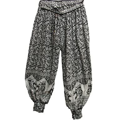 c1dd217c8f9 Womens Indian Bagroo Elephant Bohemian Yoga Harem Gypsy Pants (Black and  White)