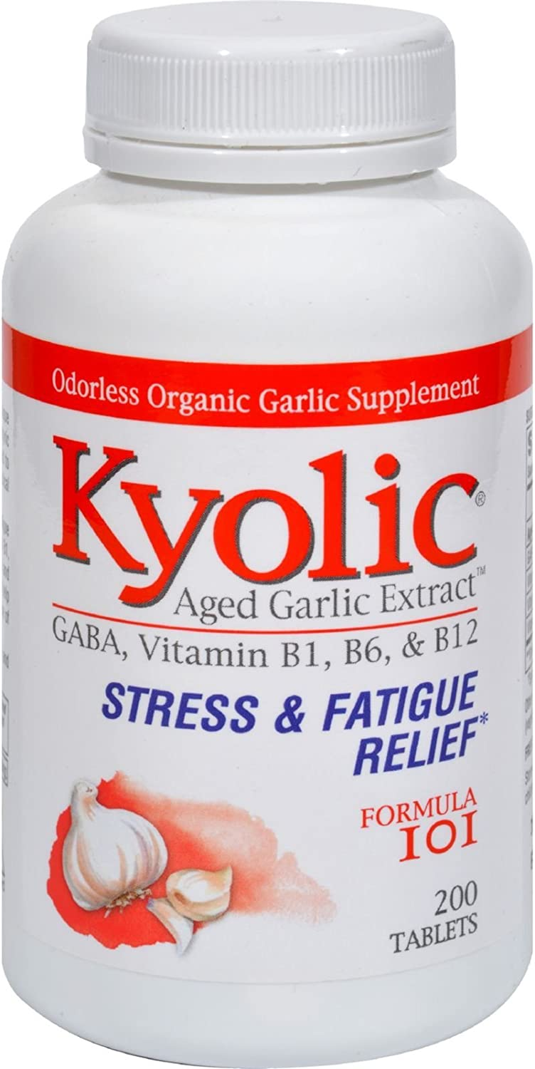 Kyolic Aged Garlic Extract Formula 101, Stress and Fatigue Relief, 200 tablets