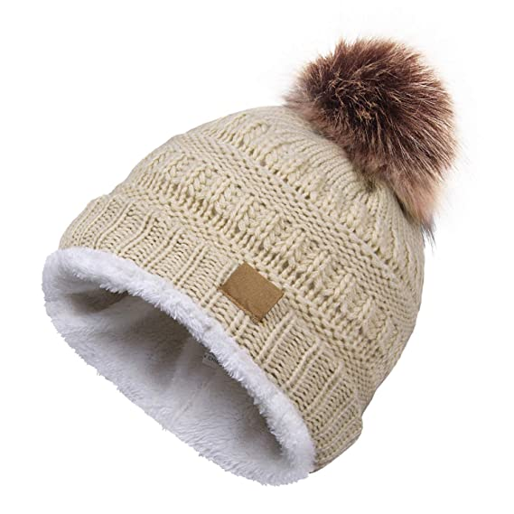 18094382a0442 Ymombest Womens Winter Hats Soft Cable Knit Cap Warm Fleece Lined Beanie Hat  (Beige)