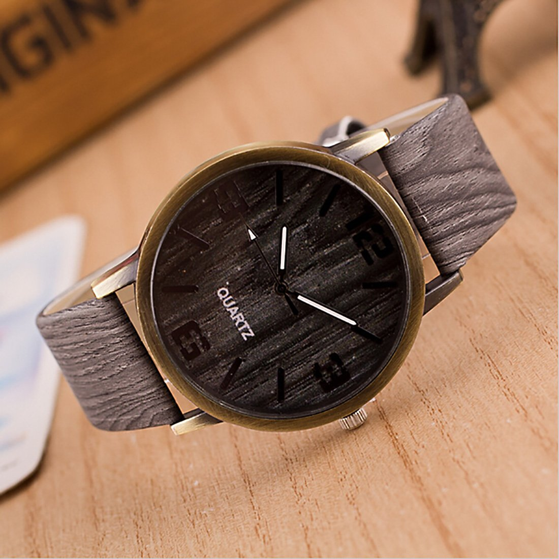 Amazon.com: 2016 Classical Wooden Watch Women Wristwatches Vintage Style Men Dress Watch Pu Leather Quartz Watch 2#: Watches