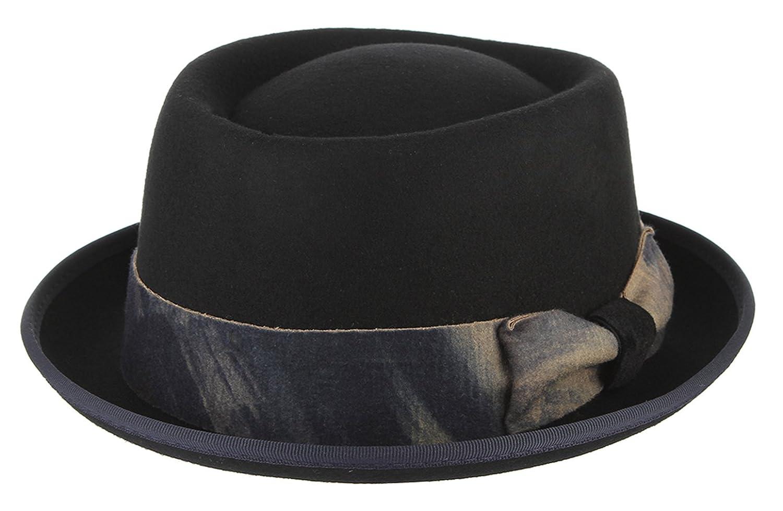 La Vogue-Vintage Cappello Uomo in Lana Berretto Pork Pie con Bowknot Caldo Bombetta Puro Colore