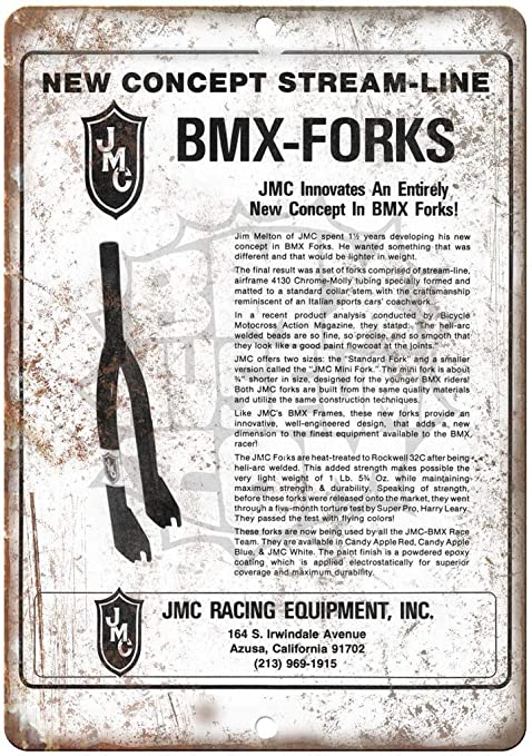 JMC BMX Racing Equipment Forks Vintage Placa Vintage Metal ...